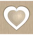 wooden valentine heart vector image vector image