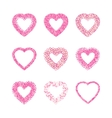 Heart Shape Frame Set Made Of Pink Hearts Flowers vector image vector image