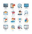 SEO And Web Development Flat Icons Set vector image