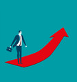 businessman going up on the red arrow concept vector image