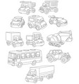 set of toy cars trucks and buses vector image