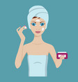 young woman care her face using cream vector image