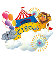 A lion and an elephant near the circus signage vector image vector image