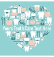 Dental care heart symbol vector image