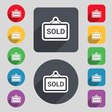 Sold icon sign A set of 12 colored buttons and a vector image