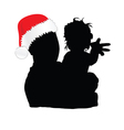 dad with christmas hat and daughter vector image