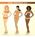 Set of three fashion girls vector image