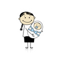 Happy mother smiling with newborn baby vector image
