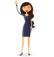 cheerful young businesswoman waving her hand vector image