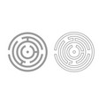circle maze or labyrinth grey set icon vector image