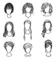 cute girl faces women avatars character set vector image