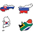 flag in map of SlovakiaSloveniaSouth AfricaSouth K vector image