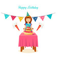 girl blows out the candles a cake on his birthday vector image