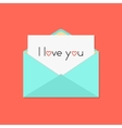 green open letter with i love you on white sheet vector image
