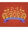 Happy birthday floral card - bright design vector image