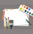 hobby paints brushes pencils pen paper vector image