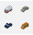isometric car set of suv auto first-aid and vector image
