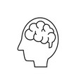 line silhouette side man with anatomy brain vector image