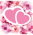 Pink floral card with two hearts vector image