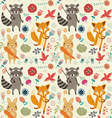 Seamless pattern with forest animals vector image