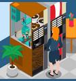 coffee machine isometric concept vector image