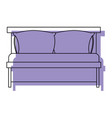 bed wooden with pillows purple watercolor vector image