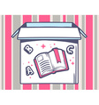 open box with icon of open book on pink vector image