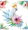 Watercolor pattern with parrot and flowers vector image vector image