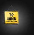 Under construction sign square hanging with chain vector image vector image