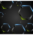Dark green blue geometric hexagons background vector image
