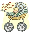 a young child in stroller vector image