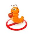 Cute orange caterpillar cartoon vector image