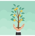 Helping Hand Money Tree Financial Growth Flat vector image