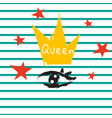t shirt queen crown and eye striped print design vector image