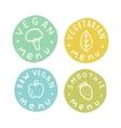 Vegan vegetarian raw smoothie menu badges vector image