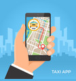 taxi service and gps navigation concept vector image