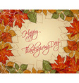 happy thanksgiving day with leaves vector image