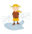 little girl ice skating vector image vector image