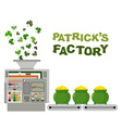Patrick factory Leprechaun machine Recycling green vector image