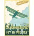 Biplane retro poster vector image