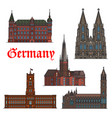 german architectural travel landmark icon set vector image
