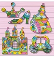 Princess decorations colorful on wooden background vector image