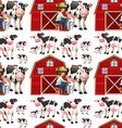 Seamless background with cows and farmers vector image