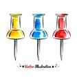 Watercolor thumbtacks vector image