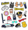 police security stickers set with officer gun vector image