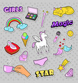 fashion girls badges with rainbow cat vector image