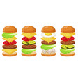 burger ingredients four sets vector image