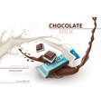 chocolate bar with milk realistic mock up vector image