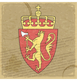 Coat of arms of Norway on the old postage stamp vector image