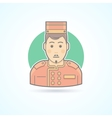 Hotel porter man doorman service guy icon vector image